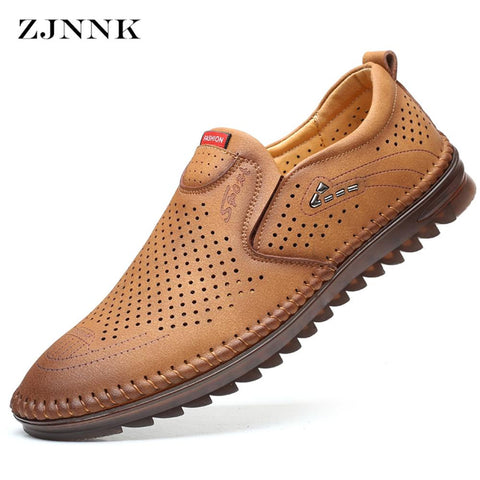 Summer Leather Shoes Men Good Quality Male Flats Loafers Breathable Hand Sewing Casual Leather Men Moccasins Shoes Bestselling