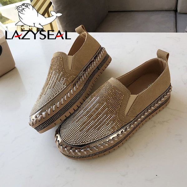LazySeal Crystal Diamonds Women Flats Bling Woman Shoes Rhinestone Ladies Casual Shoes Round Toe Slip-on Platform Shoes