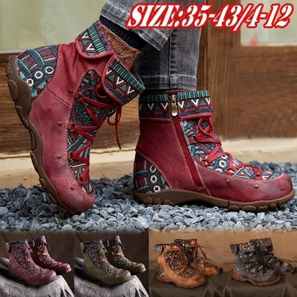 Women's Ladies Retro Bohemian Style Ankle Zip Short Boots Booties Casual Shoes  2020