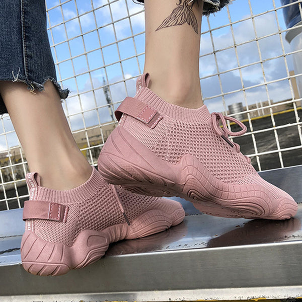 Sneakers Women  Breathable Running Shoes Pink Black Lace-up Knited Outdoor Sports Jogging Walking Female Sneakers 812S