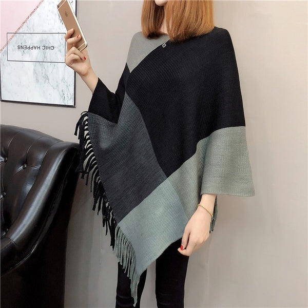 2020 Autumn Women Sweater Poncho Cape Knitting Tops