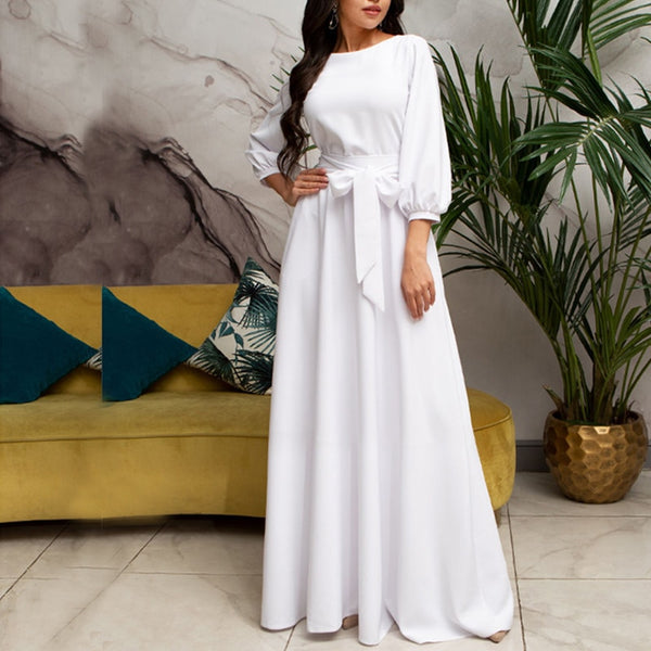 Long White Dress Women Lantern Sleeve Elegant