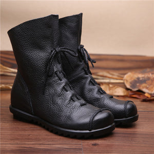 2020 Vintage Style Genuine Leather Women Boots Flat Booties Soft Cowhide Women's Shoes