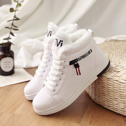 Winter Boots Women  PU Plush Winter Shoes Sneakers