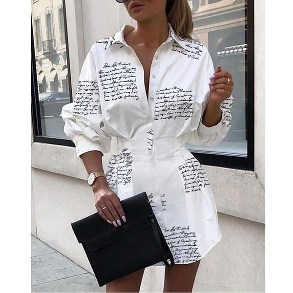 Casual Shirt Dresses Women Summer Autumn Shirt