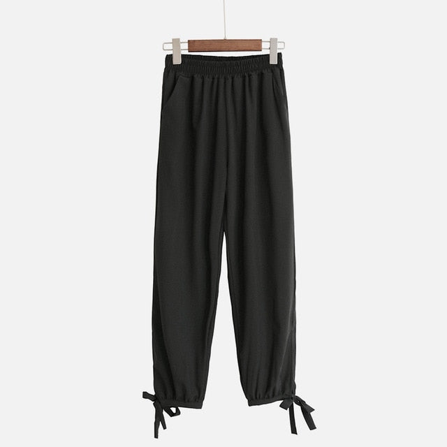 Chiffon Dot Plaid Women's Lantern Cropped Pants Lace