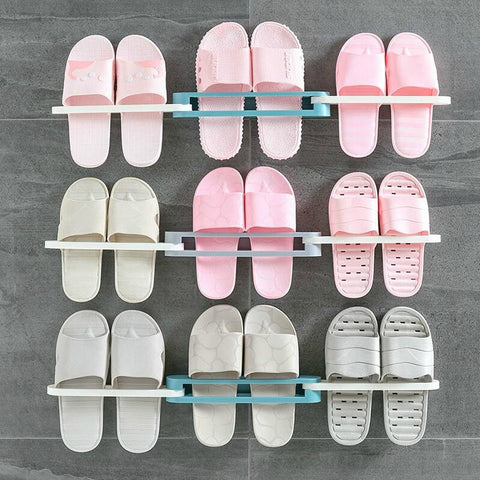 Foldable 3IN1 wall-mounted slipper rack  bathroom perforation-free shelf Wall Hanging Shoes Organizer Hanger