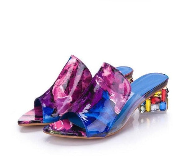 Large Size Crystal With Fish Mouth Thick With Heel Female Sandals Slippers Fashion Candy Color Rhinestones Casual Wear Resistant