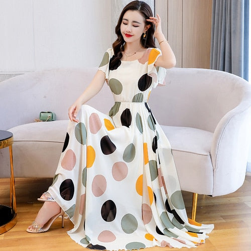 2020 Summer New Arrival Plus Size S-4XL Round Collar Dots Printed Butterfly Sleeve Hot Sale Women Chiffon Long Dress