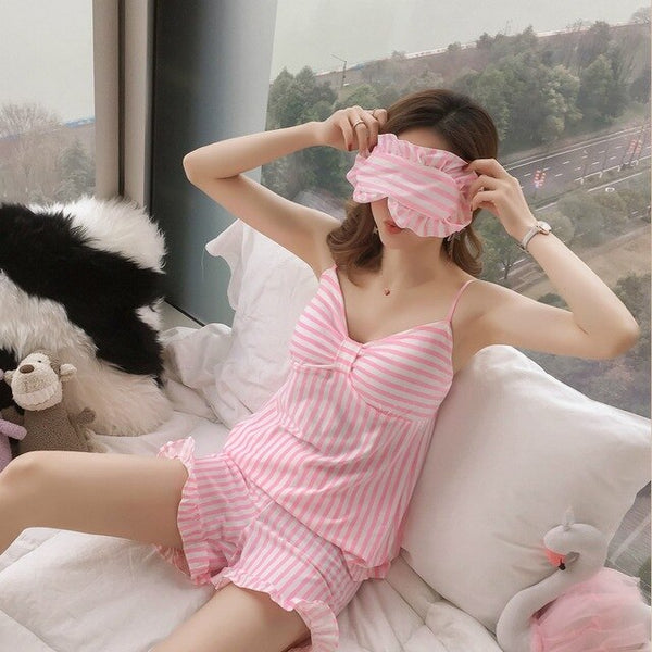 Strap Pajamas Sets for Women Summer Casual Striped Shorts Sleepwear Pyjama