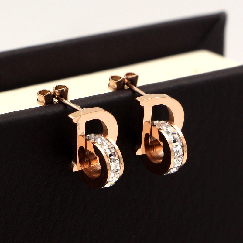 Unique Design Letter D Cubic Zirconia  Stud earrings Titanium Steel rose gold color  fashion Women Jewelry , factory prices