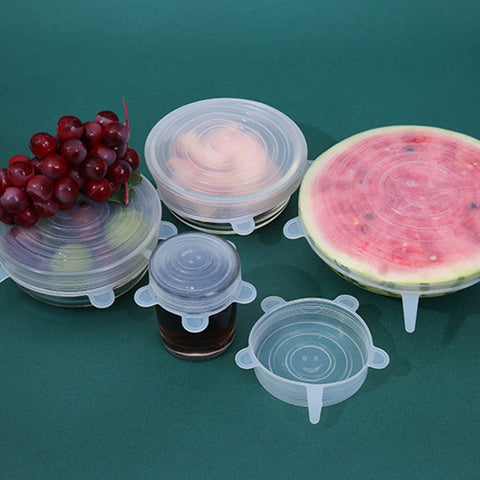 6PCS/Set Home Silicone fresh-keeping lids stretchable Transparent round cover Tea Cup Water Cup Bowl Lid