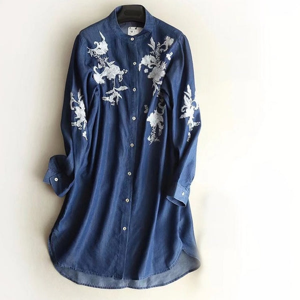 Women Thin Denim Loose Embroidery Dress Long Sleeve Flower Long Blouse Stand Color Split