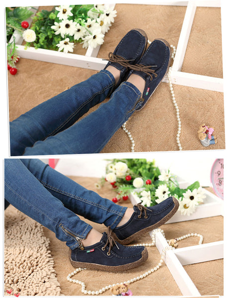 Casual Loafers Women Moccasin Shoes Ladies Flat Shoes Women Suede Genuine Leather Shoes