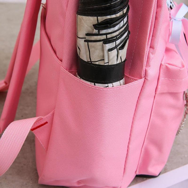 4pcs/set Girls Lady Bandage Chain Backpack Totes Women Female Canvas Travel Shoulder Pen Bags Casual Student School Book Bags