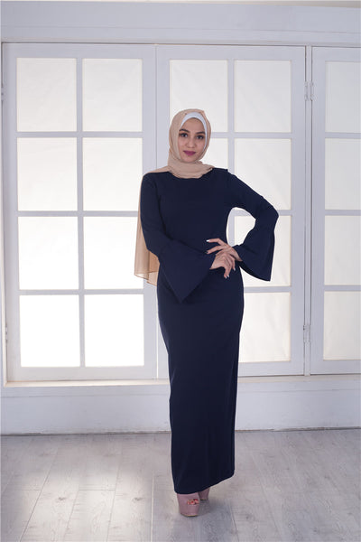 Long Maxi Dress Solid Color Women Full Flared Sleeve Muslim Fashion Simple Dress