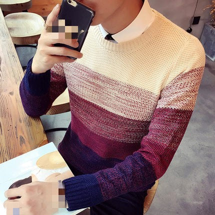 2020 new spring autumn and winter men's personality Korean version circular neck knit sweater