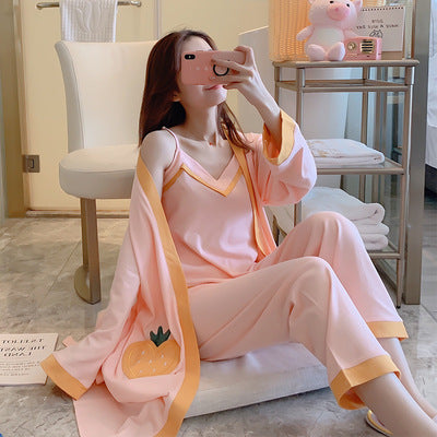 LYun cotton pajamas ladies three-piece sling outer robe trousers cotton four seasons can wear star pajamas casual solid color