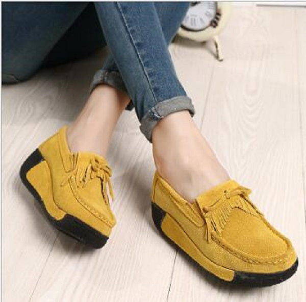 New Spring Summer Autumn Casual Genuine Leather Women Pumps Hollow Shallow Bowknot Wedges Platform Tassel Lady Shoes