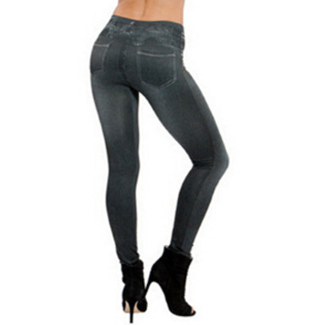 Fashion Slim Women Leggings Faux Denim Jeans