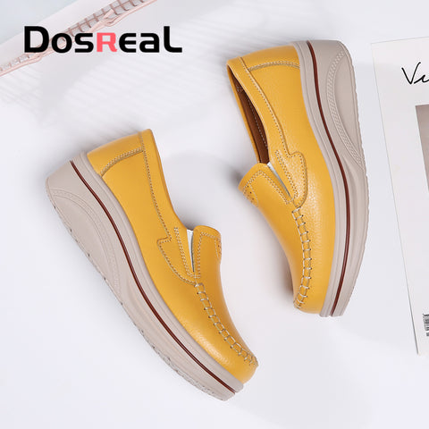 Women Flats Shoes Leather Platform Flats Ladies Summer Breathable Fashion Loafers Shoe
