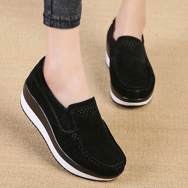 Women Flat Platform Loafers Ladies Elegant Suede Leather Moccasins Shoes