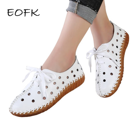 EOFK Women Flats Genuine Leather Shoes Woman Moccasins Comfortable Lace-up Handmade White Summer Sneakers Ballet Ladies Shoes