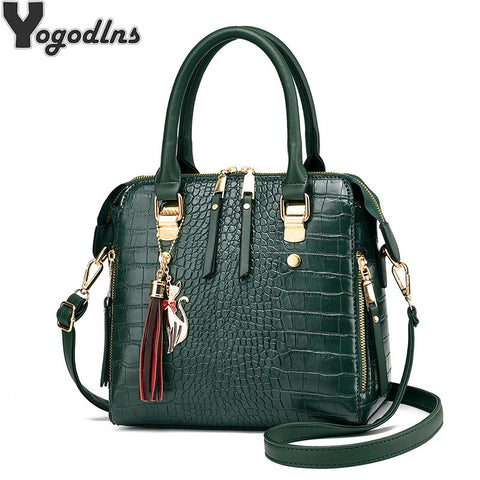 Luxury Alligator Handbags 2021 Big Capacity PU Leather Tassel Crossbody Shoulder Bags For Women Messenger Ladies Shoulder Bag