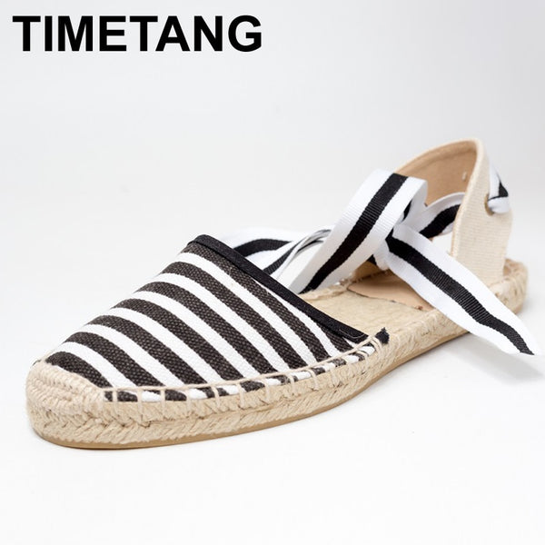 TIMETANG Canvas Espadrille Women Flats Ankle Strap Hemp Bottom Fisherman Shoes
