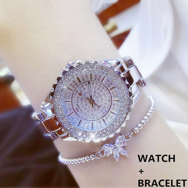 Women Watches  Luxury Brand Diamond Quartz Ladies Rose Gold Watch Stainless Steel Clock