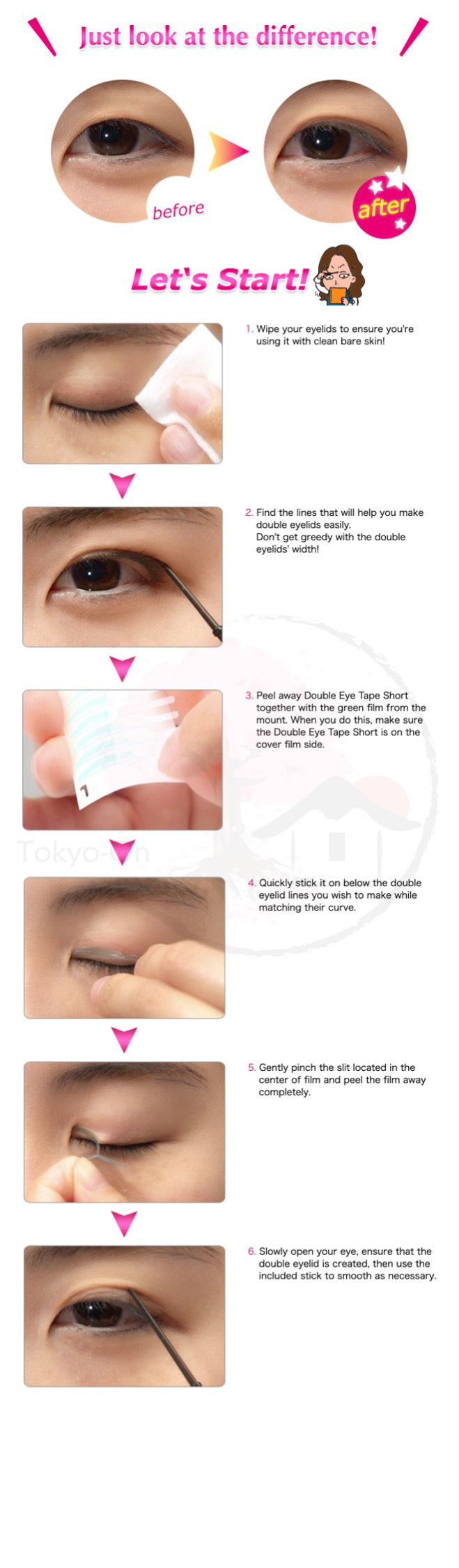 Tokyo-On AB Automatic Beauty Water Resistance & Short Eyelid Tape 100 Pcs