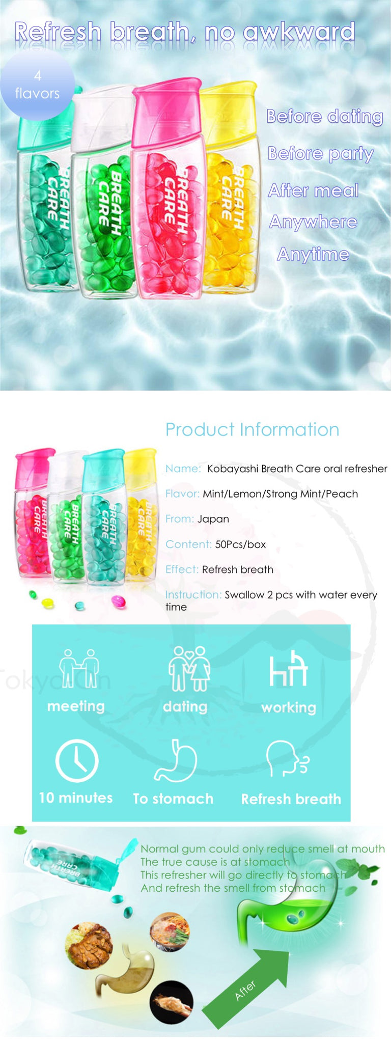 Tokyo-On Kobayashi Breath Care Lemon Oral Refresher 50Pcs