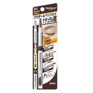 Sana New Born W Brow EX 3 In 1 Eyebrow Pencil, #B2 Grayish Brown - Tokyo-On