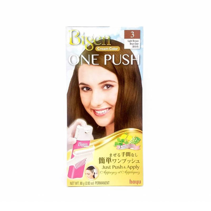 Hoyu Bigen One Push Cream Hair Dye #3 Light Brown - Tokyo-On
