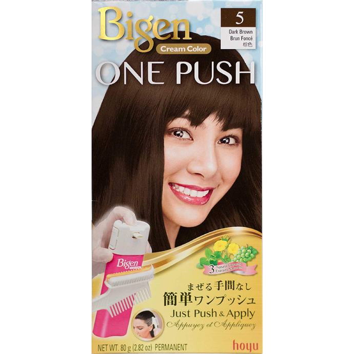 Hoyu Bigen One Push Cream Hair Dye #5 Dark Brown - Tokyo-On