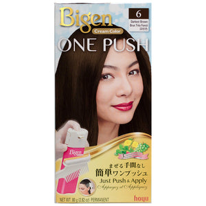 Hoyu Bigen One Push Cream Hair Dye #6 Darkest Brown - Tokyo-On