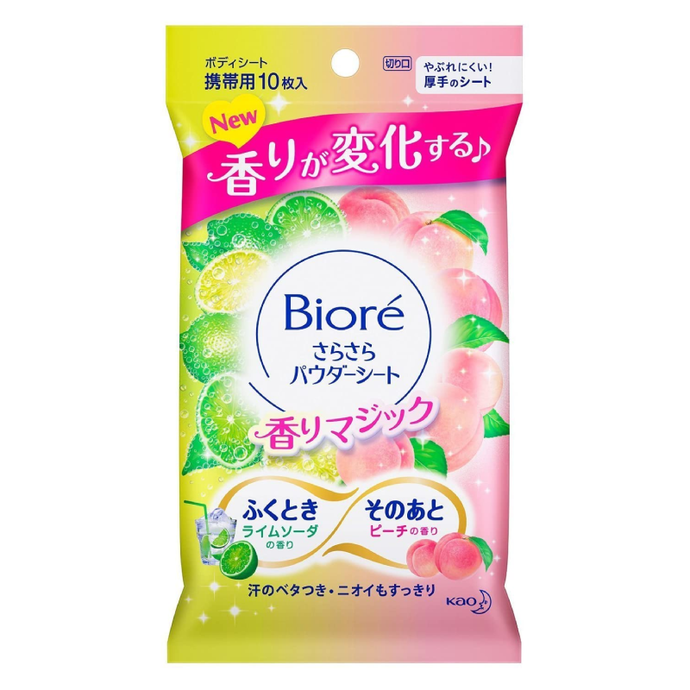 Kao Biore Body Refreshing Peach & Orange Soda Body Wipe, 10 Sheets - Tokyo-On