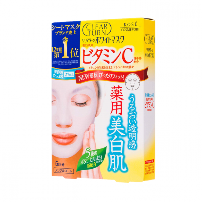 Kose Clear Turn Vitamin C Essence Brightening Mask 5 Sheets - Tokyo-On