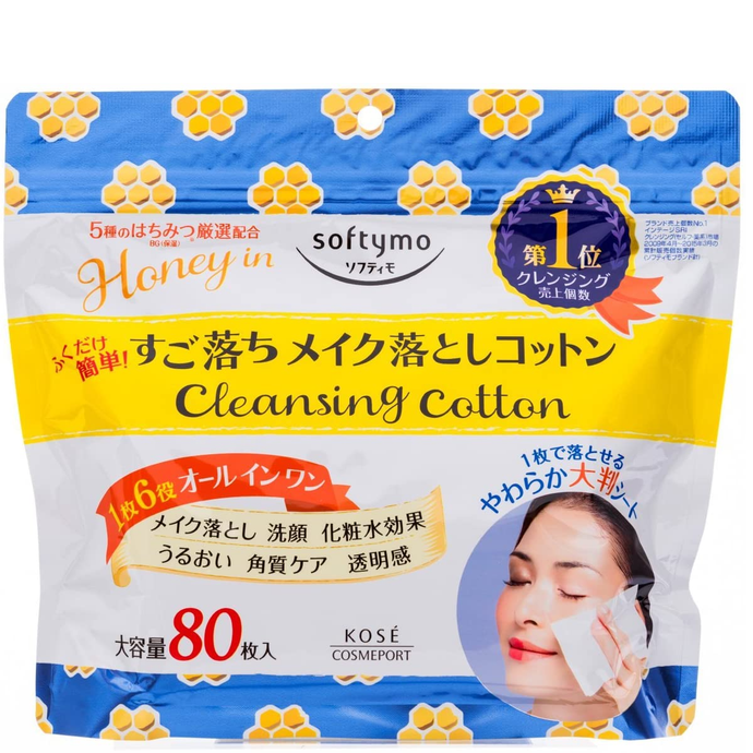 Kose Cosmeport Softymo Cleansing Cotton Pad (Honey mild) 80 Pcs - Tokyo-On