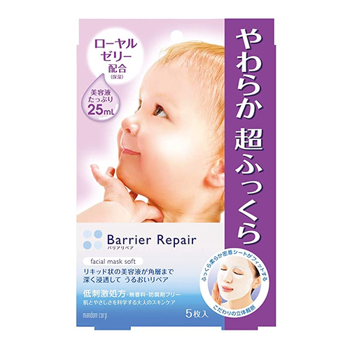 Mandom Barrier Repair Facial Mask Soft, 5 Sheets - Tokyo-On