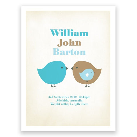 Birds Blue Brown Birth Print Poster