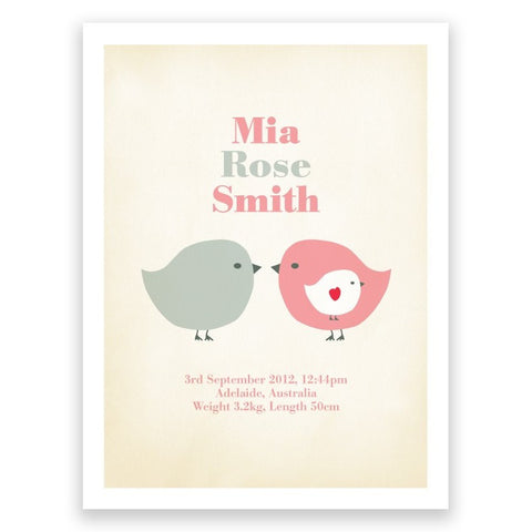 Birds Pink Grey Birth Print Poster