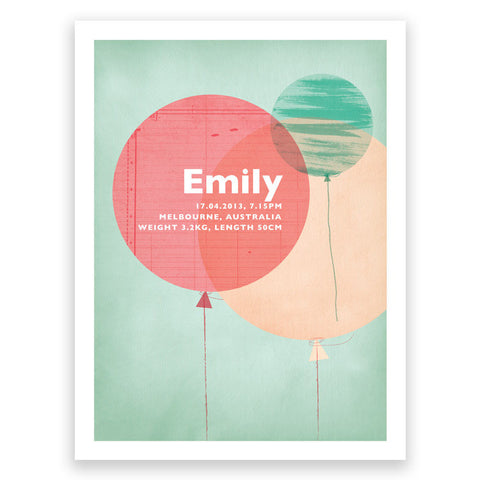 Balloons Green Pink Birth Print Poster