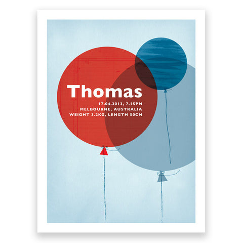 Balloons Red Blue Birth Print Poster
