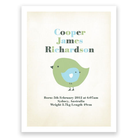 Bird Blue & Green Birth Print Poster