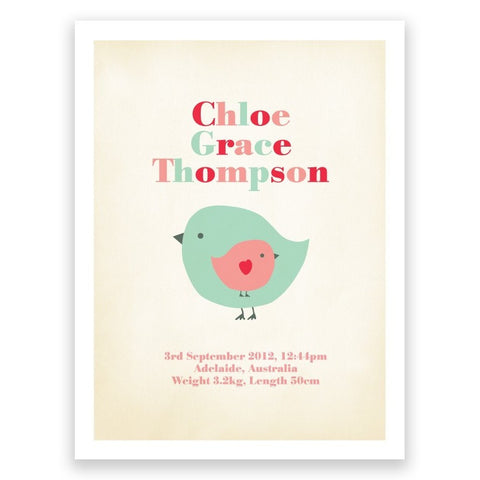 Bird Pink & Green Birth Print Poster