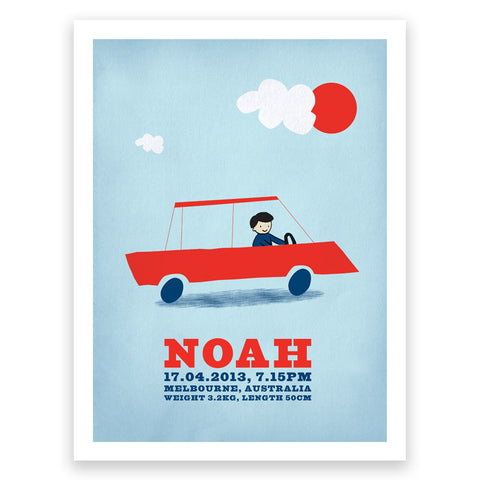 Cars Red Blue Birth Print Poster