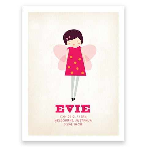 Fairy Pinks Birth Print Poster