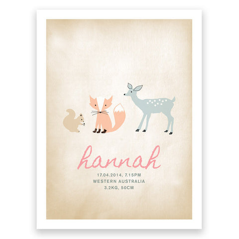 Forest Pink Grey Birth Print Poster