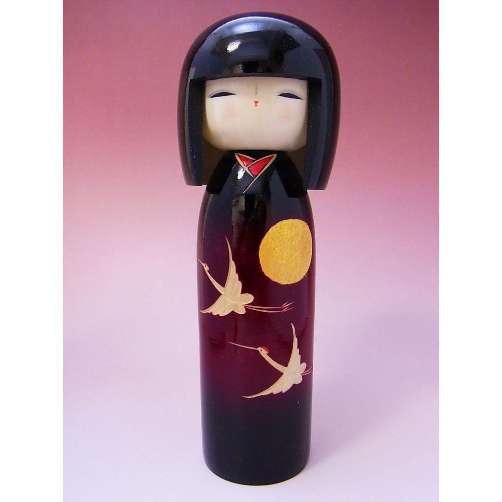 Modern Wooden Kokeshi Doll with Cranes